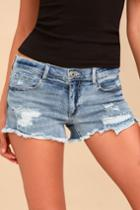 Sneak Peek Caleb Medium Wash Distressed Cutoff Denim Shorts | Lulus