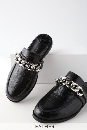Tony Bianco Dion Black Leather Croc Loafer Slides | Lulus