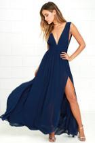 Lulus Heavenly Hues Navy Blue Maxi Dress