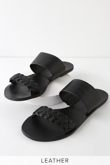 Caylee Black Nappa Leather Slide Sandal Heels | Lulus
