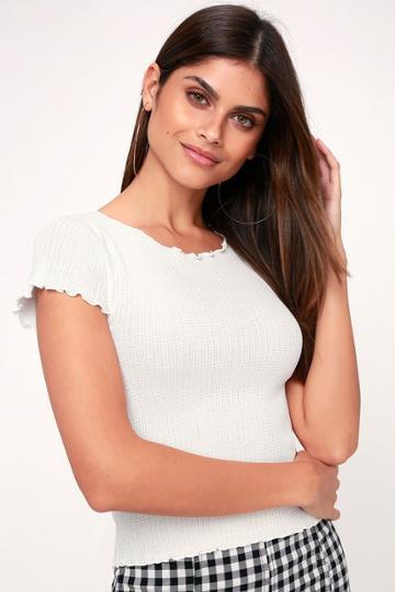 Rachael White Knit Lettuce Hem Tee | Lulus