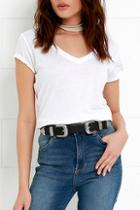 Lulus Sweet Melody Black And Silver Double Buckle Belt
