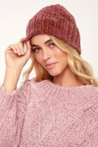 Billabong Warm Up Washed Red Chenille Beanie | Lulus
