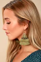 Lulus Ostara Olive Green Beaded Tassel Earrings