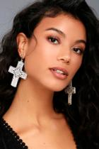 8 Other Reasons Virgin Gold And White Cross Earrings