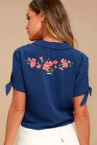 Lush Awesome Blossom Navy Blue Embroidered Crop Top