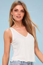 Abaco White Ribbed Cropped Tank Top | Lulus