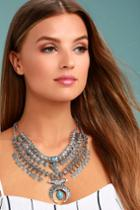 Lulus | Entranced By You Turquoise And Silver Layered Statement Necklace