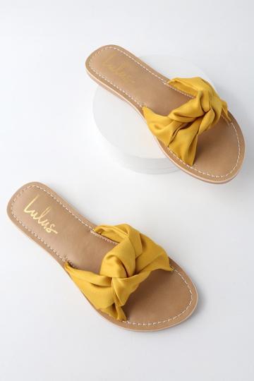 Makenzie Yellow Satin Slide Sandal Heels | Lulus