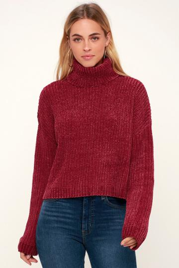 Blank Nyc Francia Wine Red Chenille Turtleneck Sweater | Lulus