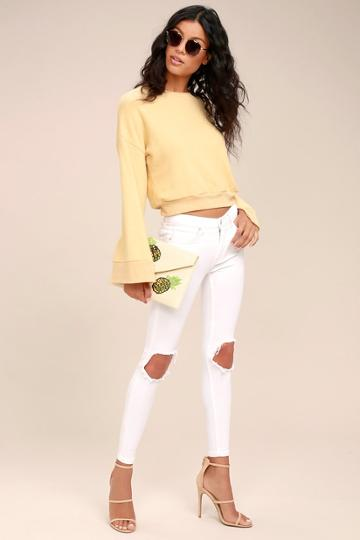 Free People High Rise Busted White Distressed Skinny Jeans | Lulus