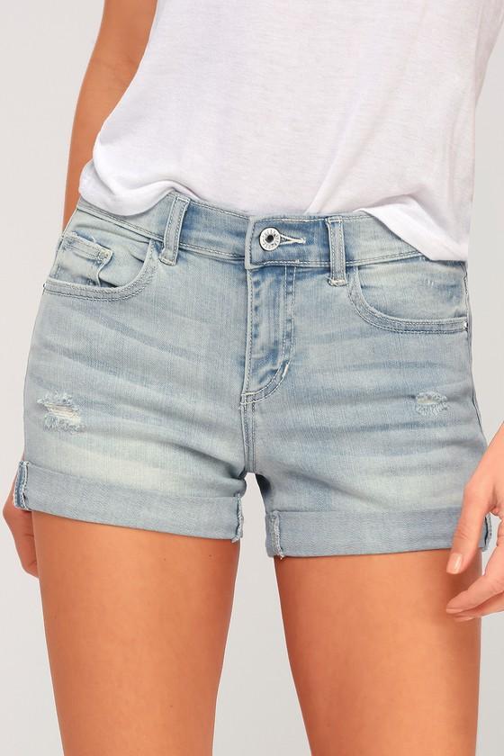 Sneak Peek Katy Light Wash Distresed Denim Shorts | Lulus