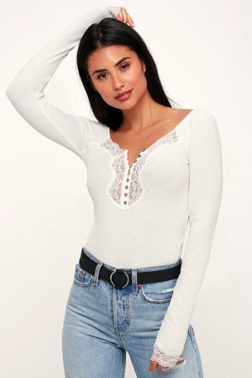 Free People To The West Ivory Lace Long Sleeve Top | Lulus