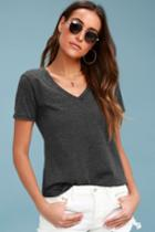 Z Supply Maggy Charcoal Grey V-neck Tee | Lulus