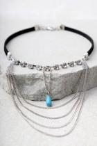 Lulus Have It All Silver And Turquoise Choker Necklace