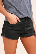 O2 Denim | Off-road Washed Black Cutoff Denim Shorts | Size Large | Lulus