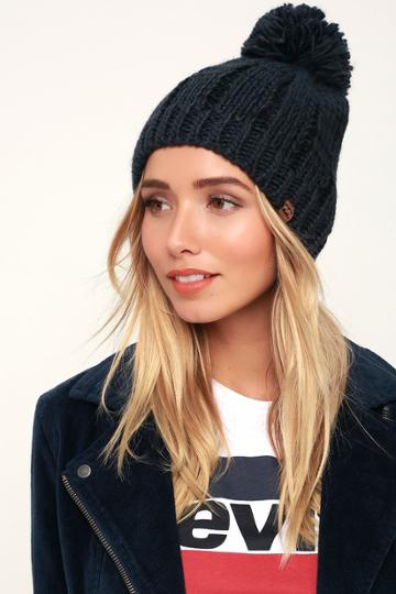 Billabong Chill Out Navy Blue Pom Pom Beanie | Lulus