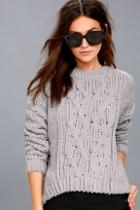 J.o.a. Beth Grey Cable Knit Sweater