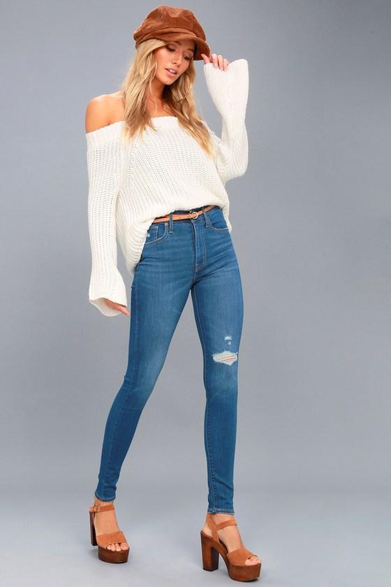 Levi's   Mile High Super Skinny Medium Wash Distressed Jeans   Size 27   Blue   Lulus
