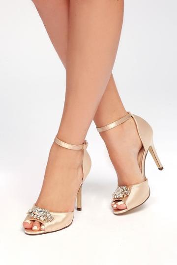 Bonnibel Bethany Nude Satin Rhinestone Ankle Strap Pumps | Lulus