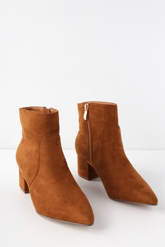 Sofia Tan Suede Pointed Toe Ankle Booties | Lulus