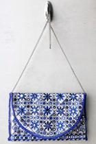 Lulus Laguna Beige And Blue Embroidered Clutch