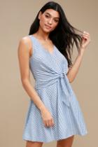 Teauge Blue And White Striped Tie-front Dress | Lulus