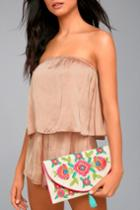 Lulus   Perfect Petals Beige Floral Embroidered Clutch