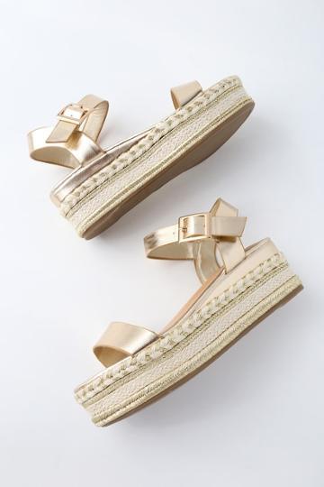 Bamboo Cecilio Gold Espadrille Flatform Sandals | Lulus