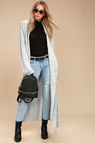 Lulus For Your Love Heather Grey Long Cardigan Sweater