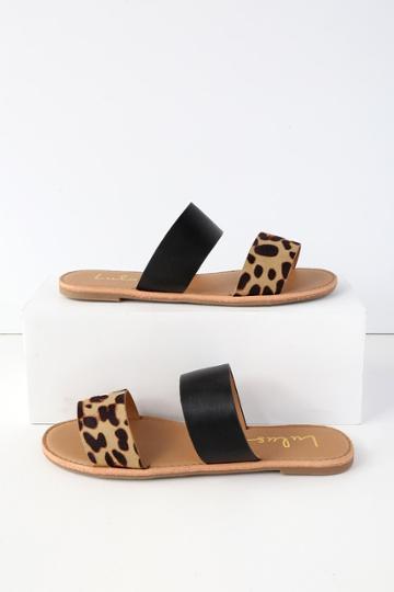 Bonnibel Time To Chill Black Leopard Slide Sandal Heels | Lulus