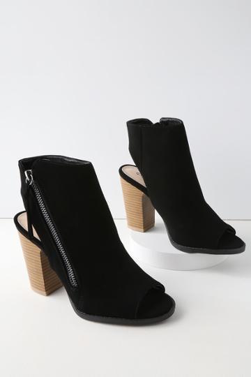 Qupid Bartlett Black Nubuck Peep-toe Ankle Booties | Lulus