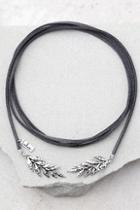Lulus Leaf It To Fate Silver And Grey Wrap Necklace