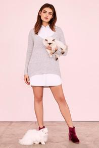 Lulus Prep Up White Sleeveless Shirt Dress