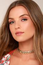 Lulus | Link Up Gold Choker Necklace