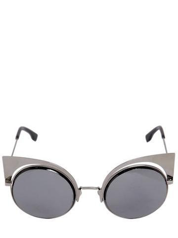 Fendi Silver Colored Metal Cat Eye Sunglasses