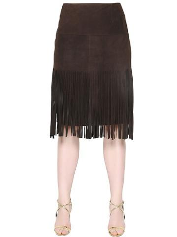 Marina Rinaldi - Fringed Suede Mini Skirt
