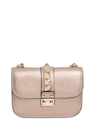 Valentino - Small Lock Metallic Leather Shoulder Bag