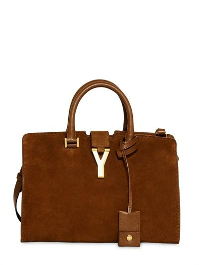 Saint Laurent Small Cabas Y Suede Leather Bag