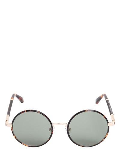 The Row Leather & Acetate Round Sunglasses