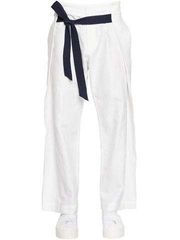 Dirk Bikkembergs 26cm Loose Fit Linen & Cotton Pants