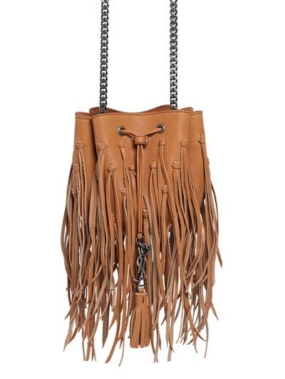 Saint Laurent Ysl Pendant Fringed Leather Bucket Bag