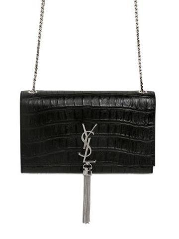 Saint Laurent - Monogramme Croc Embossed Leather Bag