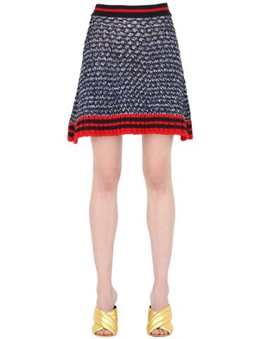 Gucci Heavy Lurex & Cotton Knit Skirt