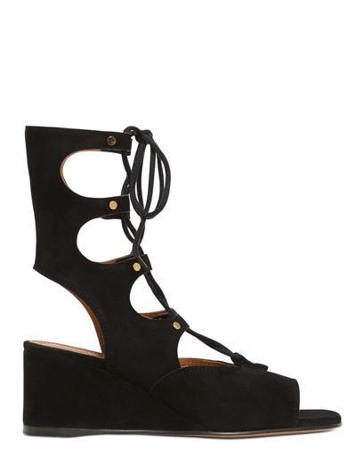 Chloe' - 50mm Suede Gladiator Wedge Sandals