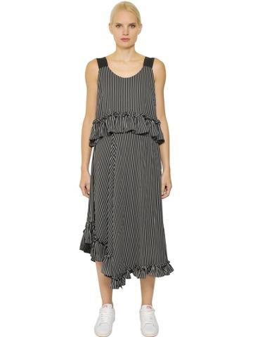 Steve J & Yoni P Ruffled Striped Techno Crepe Maxi Dress