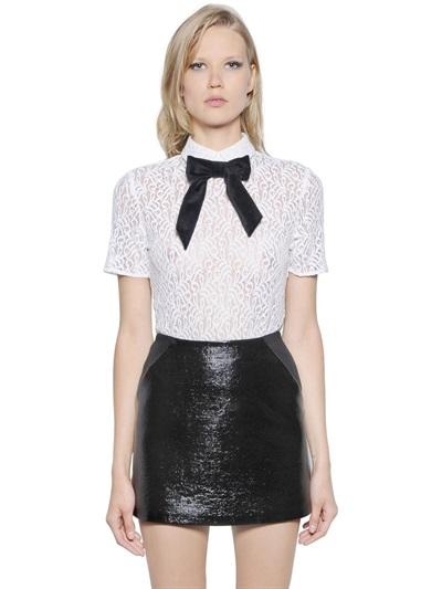 The Kooples Cotton Lace Bow Top