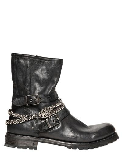 John Varvatos Chains & Buckles Leather Engineer Boots