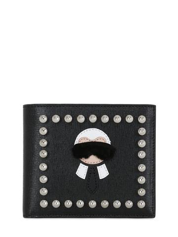 Fendi Karl Lagerfeld Studded Leather Wallet