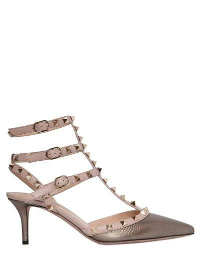 Valentino - 65mm Rockstud Metallic Leather Pumps